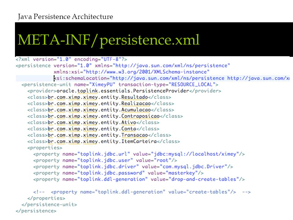 META-INF/persistence.xml Java Persistence Architecture # 8