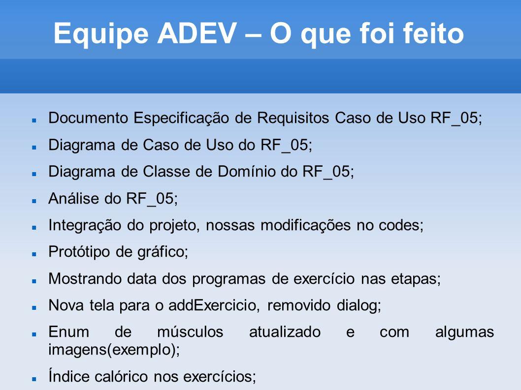 Equipe ADEV – O que foi feito Documento Especificação de Requisitos Caso de Uso RF_05; Diagrama de Caso de Uso do RF_05; Diagrama de Classe de Domínio