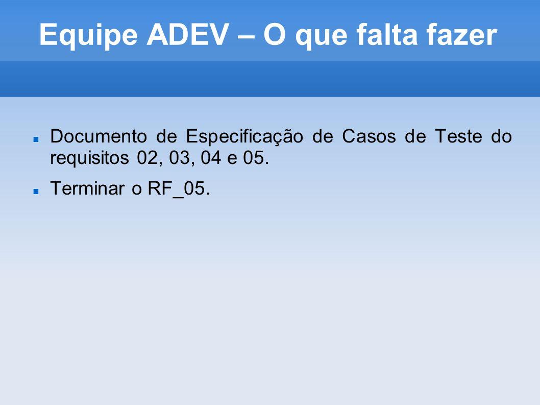 Equipe ADEV – O que falta fazer Documento de Especificação de Casos de Teste do requisitos 02, 03, 04 e 05. Terminar o RF_05.