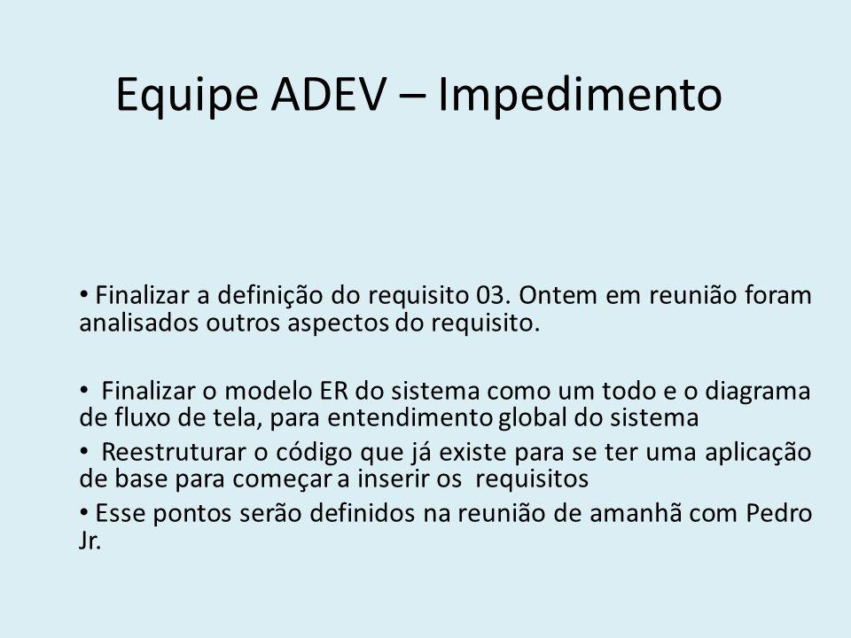 Equipe ADEV – Impedimento Finalizar a definição do requisito 03.
