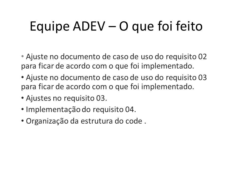 Equipe ADEV – O que foi feito Ajuste no documento de caso de uso do requisito 02 para ficar de acordo com o que foi implementado.