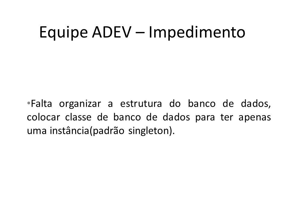 Equipe ADEV – Impedimento Falta organizar a estrutura do banco de dados, colocar classe de banco de dados para ter apenas uma instância(padrão singleton).