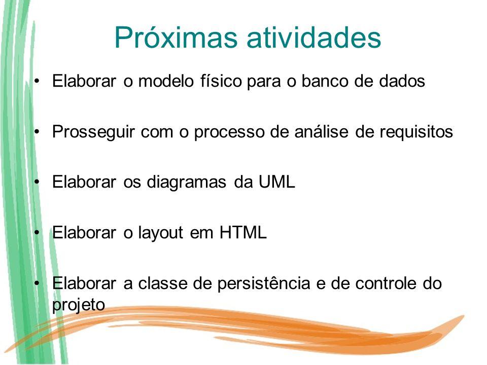 Próximas atividades Elaborar o modelo físico para o banco de dados Prosseguir com o processo de análise de requisitos Elaborar os diagramas da UML Ela