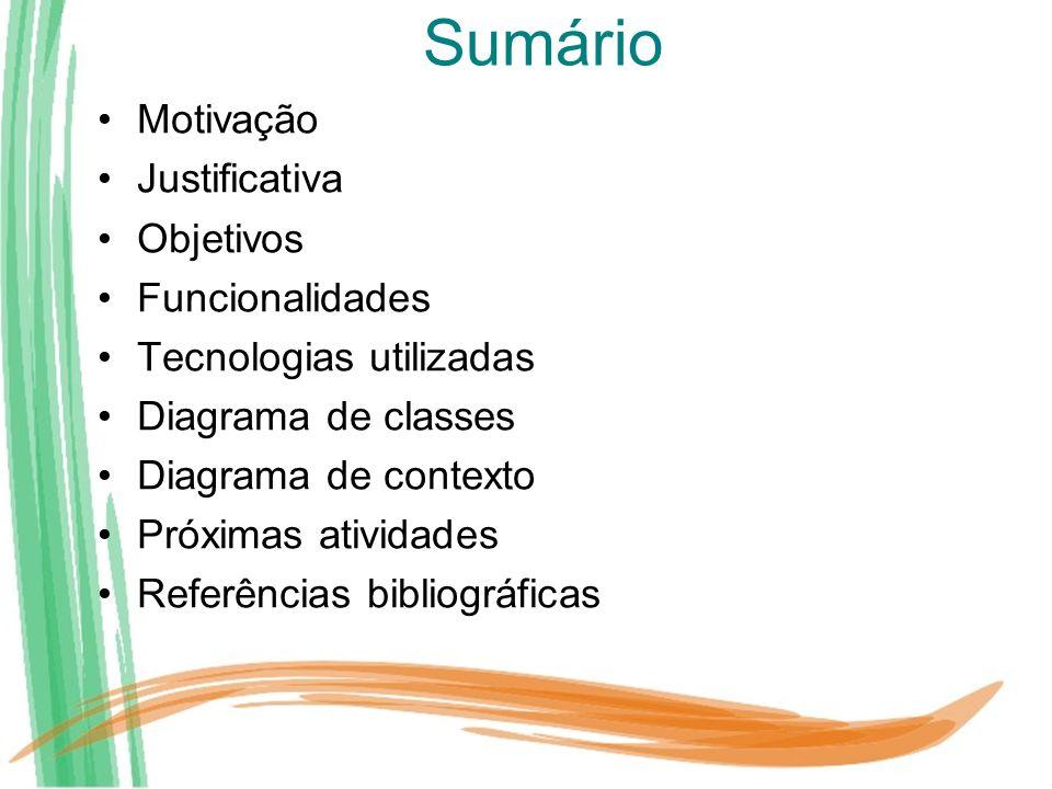 Sumário Motivação Justificativa Objetivos Funcionalidades Tecnologias utilizadas Diagrama de classes Diagrama de contexto Próximas atividades Referênc