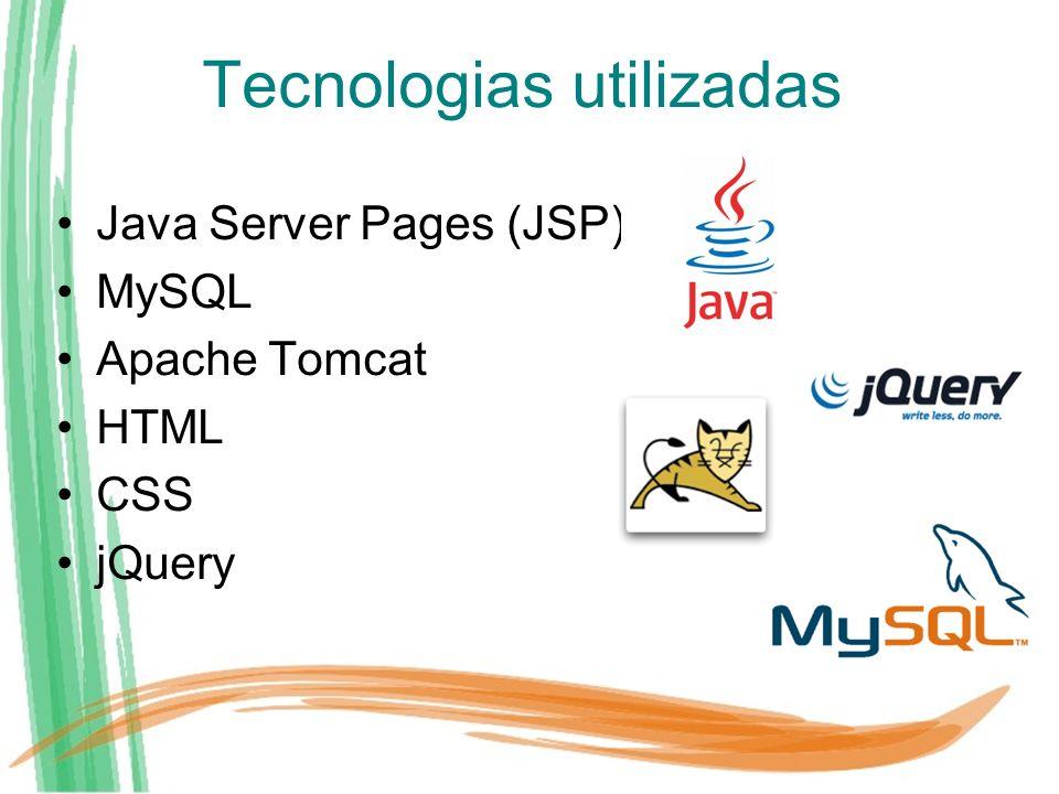 Tecnologias utilizadas Java Server Pages (JSP) MySQL Apache Tomcat HTML CSS jQuery