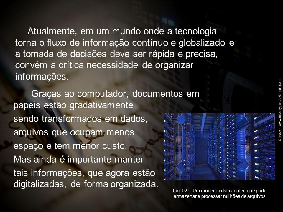 Graças ao computador, documentos em papeis estão gradativamente sendo transformados em dados, arquivos que ocupam menos espaço e tem menor custo.