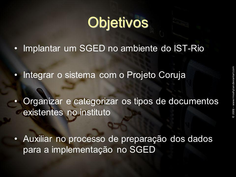 Objetivos Implantar um SGED no ambiente do IST-Rio Integrar o sistema com o Projeto Coruja Organizar e categorizar os tipos de documentos existentes no instituto Auxiliar no processo de preparação dos dados para a implementação no SGED
