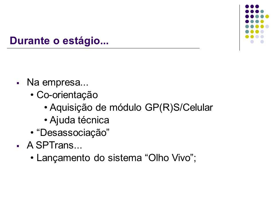 Durante o estágio... Na empresa... Co-orientação Aquisição de módulo GP(R)S/Celular Ajuda técnica Desassociação A SPTrans... Lançamento do sistema Olh