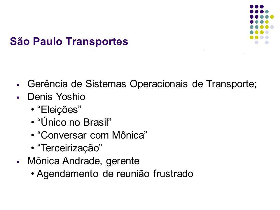 São Paulo Transportes Gerência de Sistemas Operacionais de Transporte; Denis Yoshio Eleições Único no Brasil Conversar com Mônica Terceirização Mônica