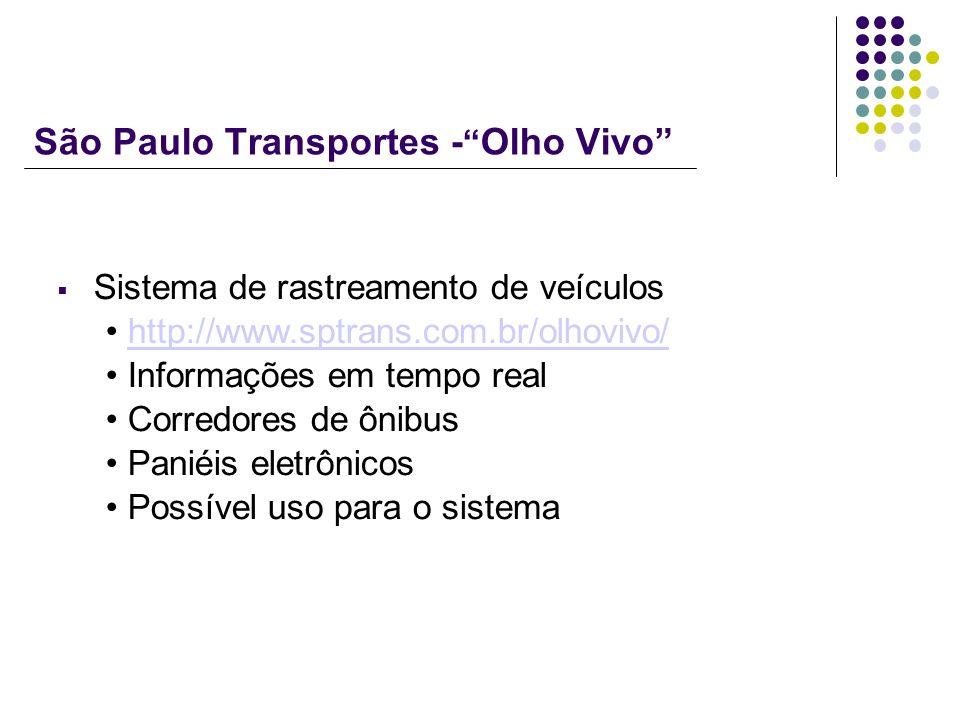 São Paulo Transportes - Olho Vivo Sistema de rastreamento de veículos http://www.sptrans.com.br/olhovivo/ Informações em tempo real Corredores de ônib