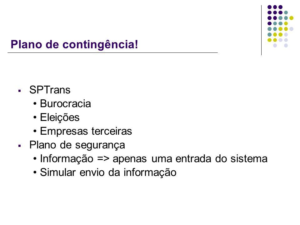 Plano de contingência! SPTrans Burocracia Eleições Empresas terceiras Plano de segurança Informação => apenas uma entrada do sistema Simular envio da