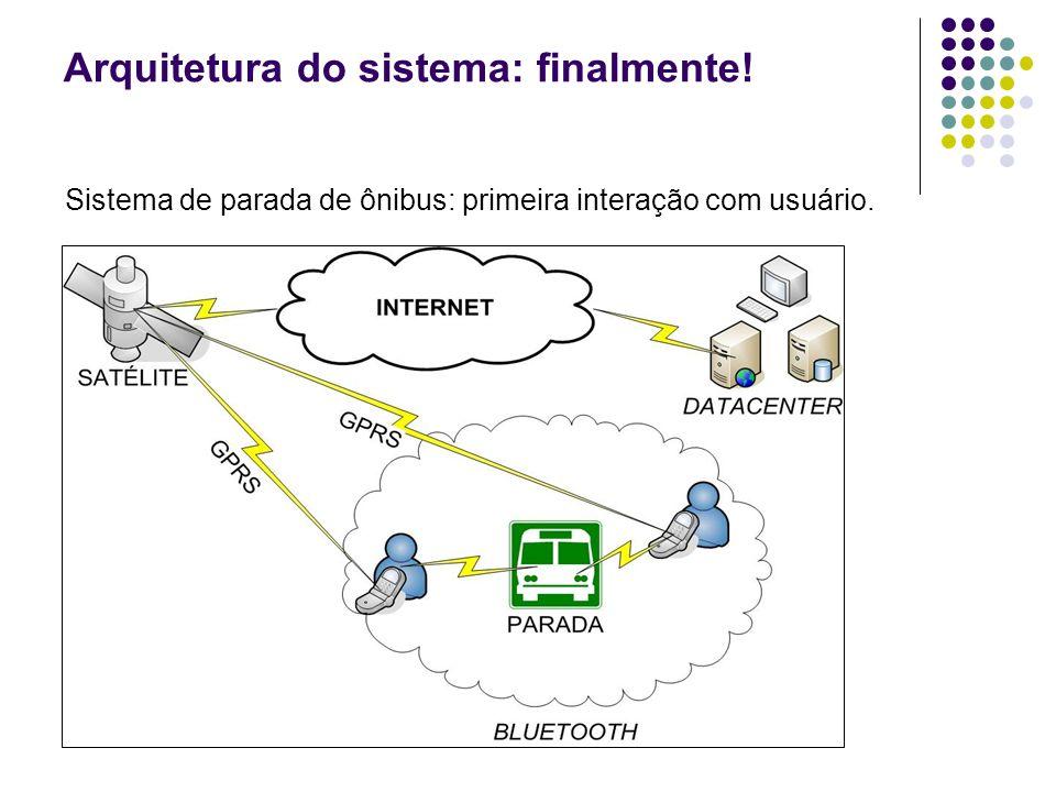 Arquitetura do sistema: finalmente! Sistema de parada de ônibus: primeira interação com usuário.