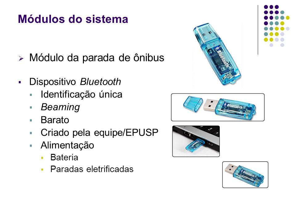 Módulos do sistema Módulo da parada de ônibus Dispositivo Bluetooth Identificação única Beaming Barato Criado pela equipe/EPUSP Alimentação Bateria Pa