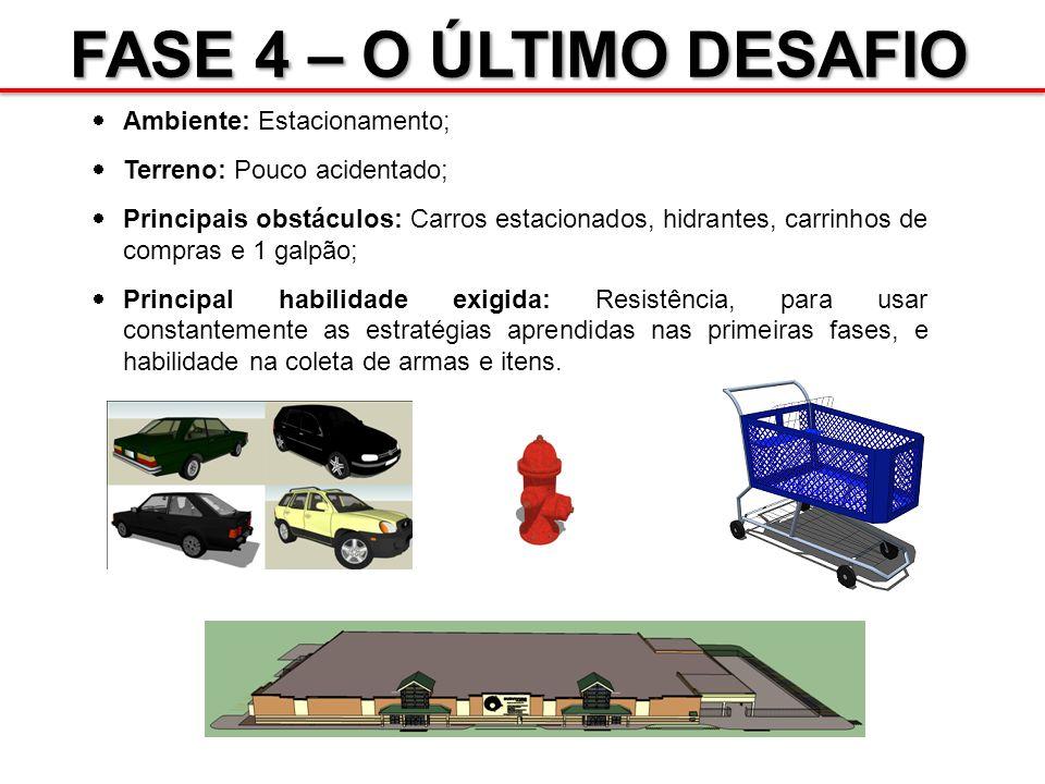 FASE 4 – O ÚLTIMO DESAFIO Ambiente: Estacionamento; Terreno: Pouco acidentado; Principais obstáculos: Carros estacionados, hidrantes, carrinhos de com
