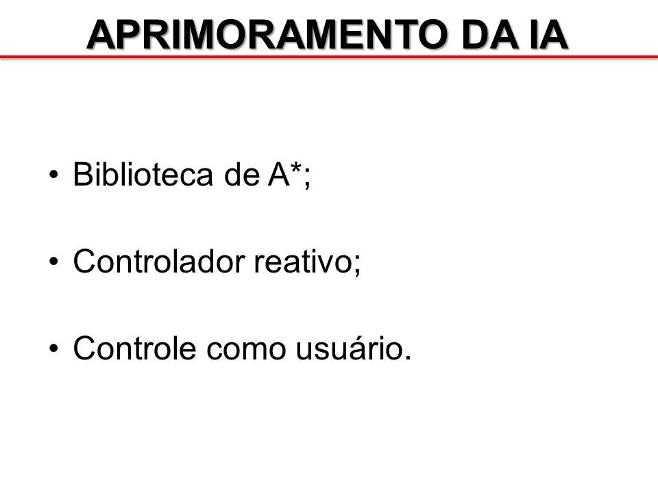 APRIMORAMENTO DA IA Biblioteca de A*; Controlador reativo; Controle como usuário.