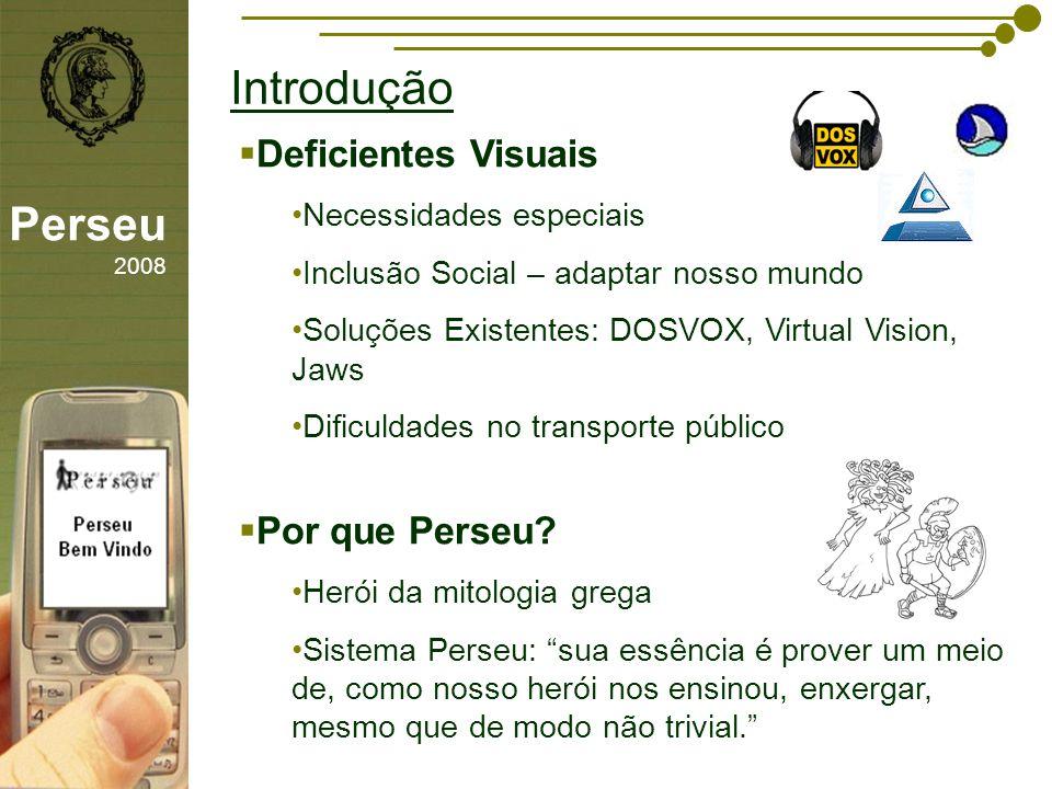 sfsdffsdf Introdução Perseu 2008 Deficientes Visuais Necessidades especiais Inclusão Social – adaptar nosso mundo Soluções Existentes: DOSVOX, Virtual