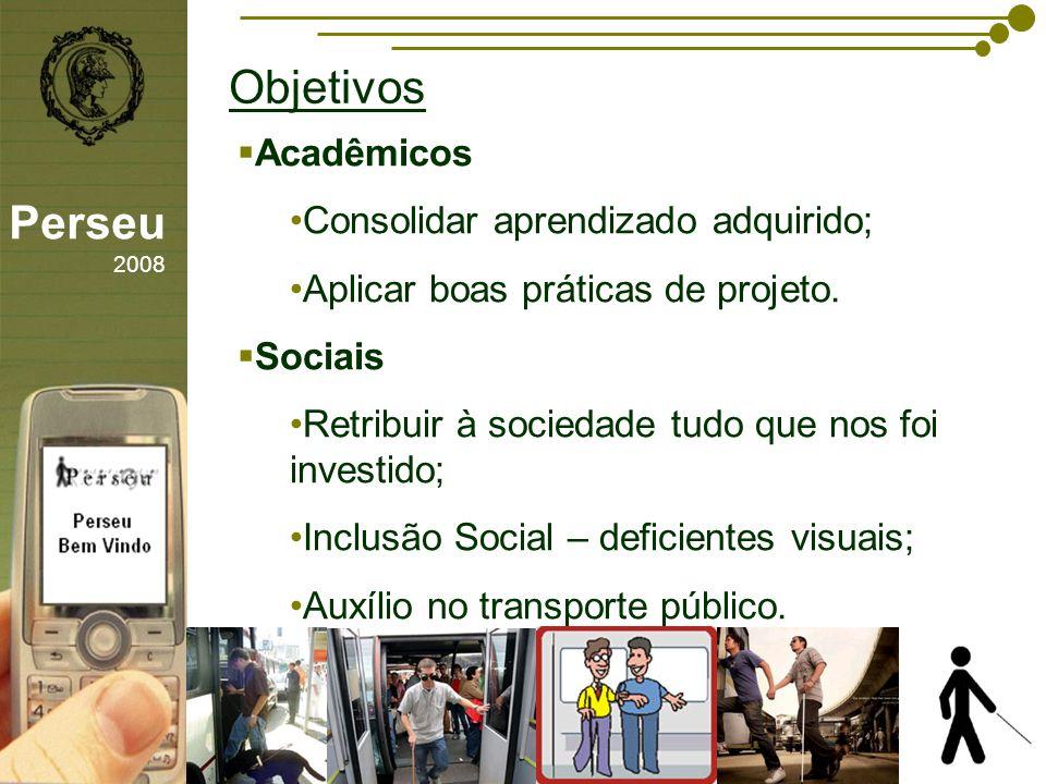 sfsdffsdf Objetivos Perseu 2008 Acadêmicos Consolidar aprendizado adquirido; Aplicar boas práticas de projeto. Sociais Retribuir à sociedade tudo que