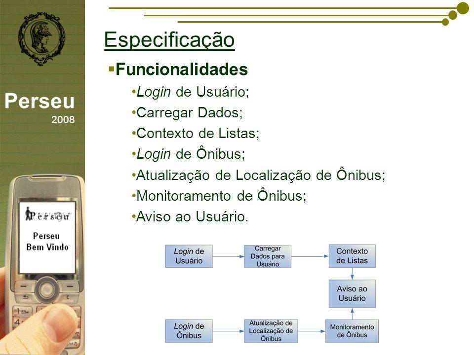 sfsdffsdf Especificação Perseu 2008 Funcionalidades Login de Usuário; Carregar Dados; Contexto de Listas; Login de Ônibus; Atualização de Localização