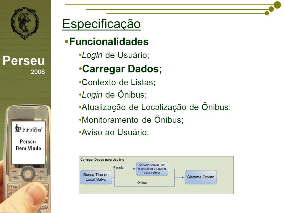 sfsdffsdf Especificação Perseu 2008 Funcionalidades Login de Usuário; Carregar Dados; Contexto de Listas; Login de Ônibus; Atualização de Localização de Ônibus; Monitoramento de Ônibus; Aviso ao Usuário.