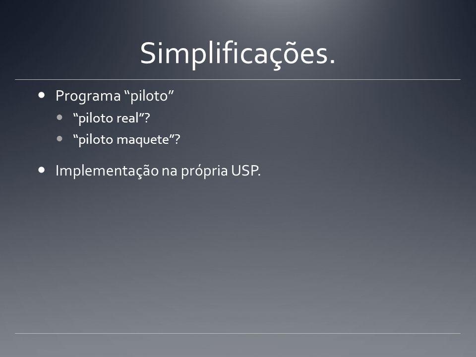 Simplificações. Programa piloto piloto real? piloto maquete? Implementação na própria USP.