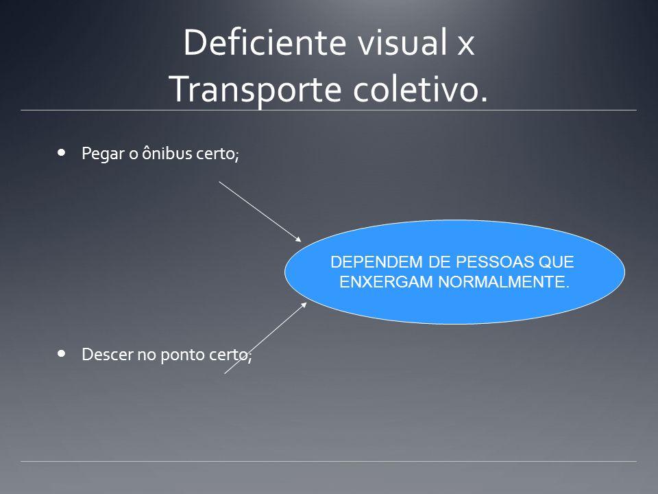 Deficiente visual x Transporte coletivo. Pegar o ônibus certo; Descer no ponto certo; DEPENDEM DE PESSOAS QUE ENXERGAM NORMALMENTE.