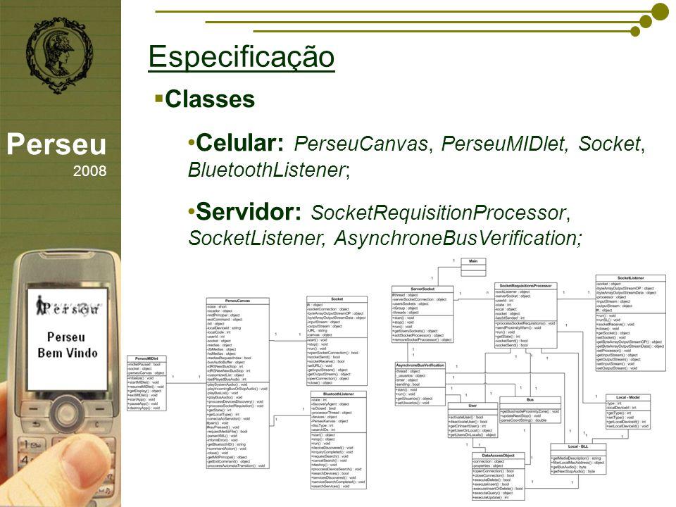 sfsdffsdf Especificação Perseu 2008 Classes Celular: PerseuCanvas, PerseuMIDlet, Socket, BluetoothListener; Servidor: SocketRequisitionProcessor, Sock