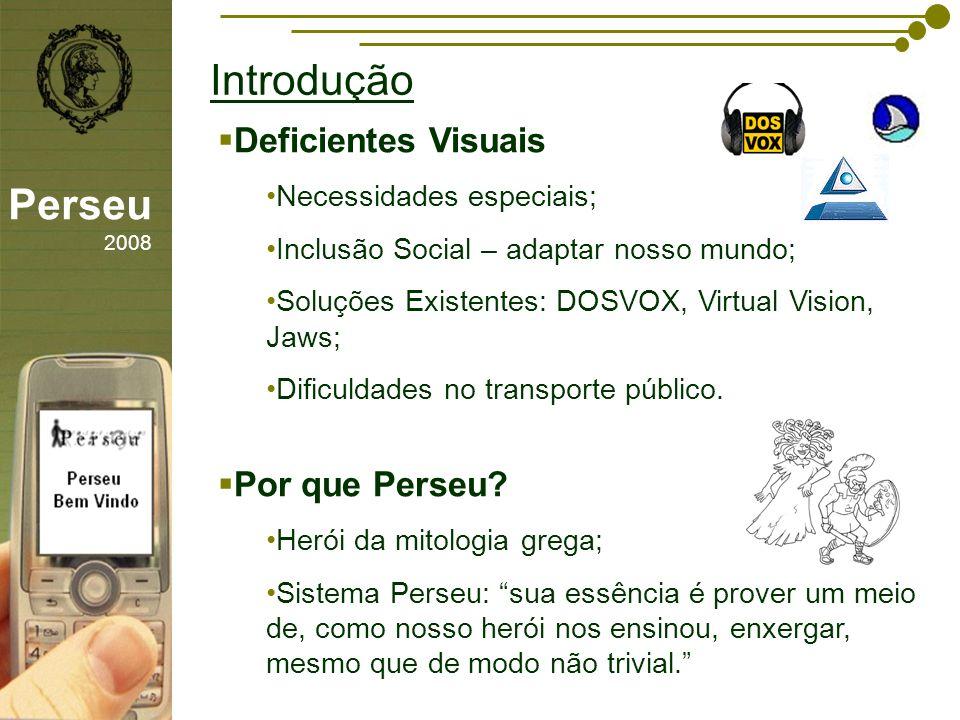 sfsdffsdf Introdução Perseu 2008 Deficientes Visuais Necessidades especiais; Inclusão Social – adaptar nosso mundo; Soluções Existentes: DOSVOX, Virtu