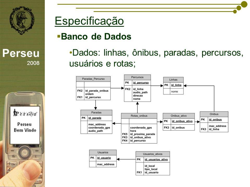 sfsdffsdf Especificação Perseu 2008 Banco de Dados Dados: linhas, ônibus, paradas, percursos, usuários e rotas;