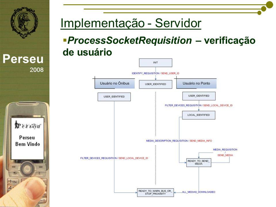 sfsdffsdf Implementação - Servidor Perseu 2008 ProcessSocketRequisition – verificação de usuário