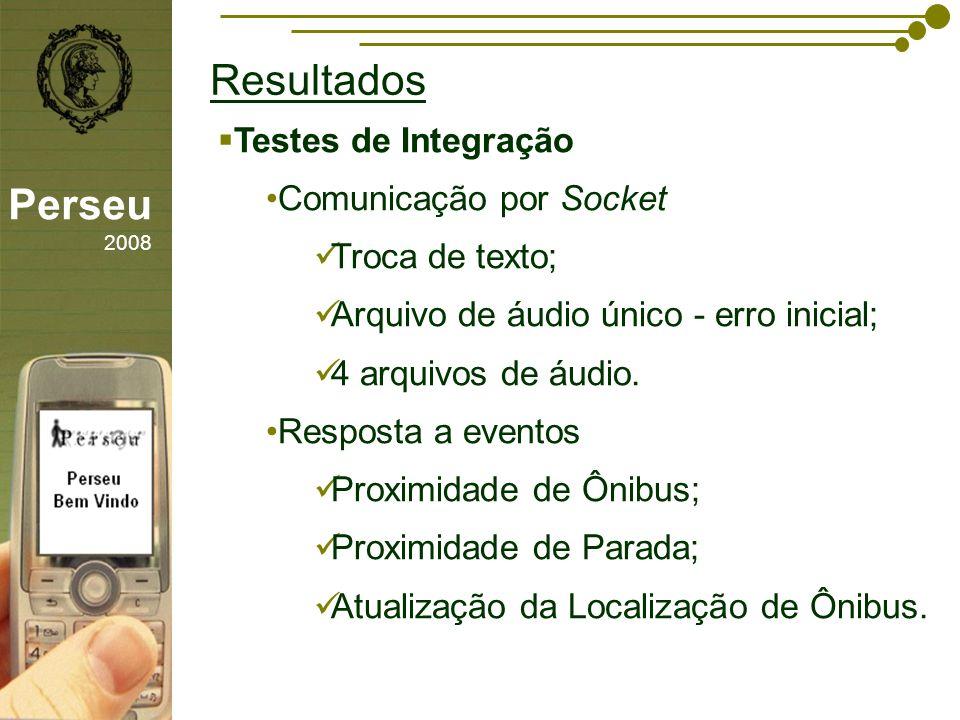 sfsdffsdf Resultados Perseu 2008 Testes de Integração Comunicação por Socket Troca de texto; Arquivo de áudio único - erro inicial; 4 arquivos de áudi