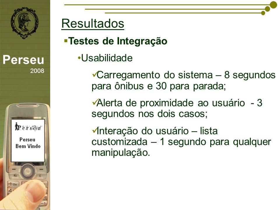 sfsdffsdf Resultados Perseu 2008 Testes de Integração Usabilidade Carregamento do sistema – 8 segundos para ônibus e 30 para parada; Alerta de proximi