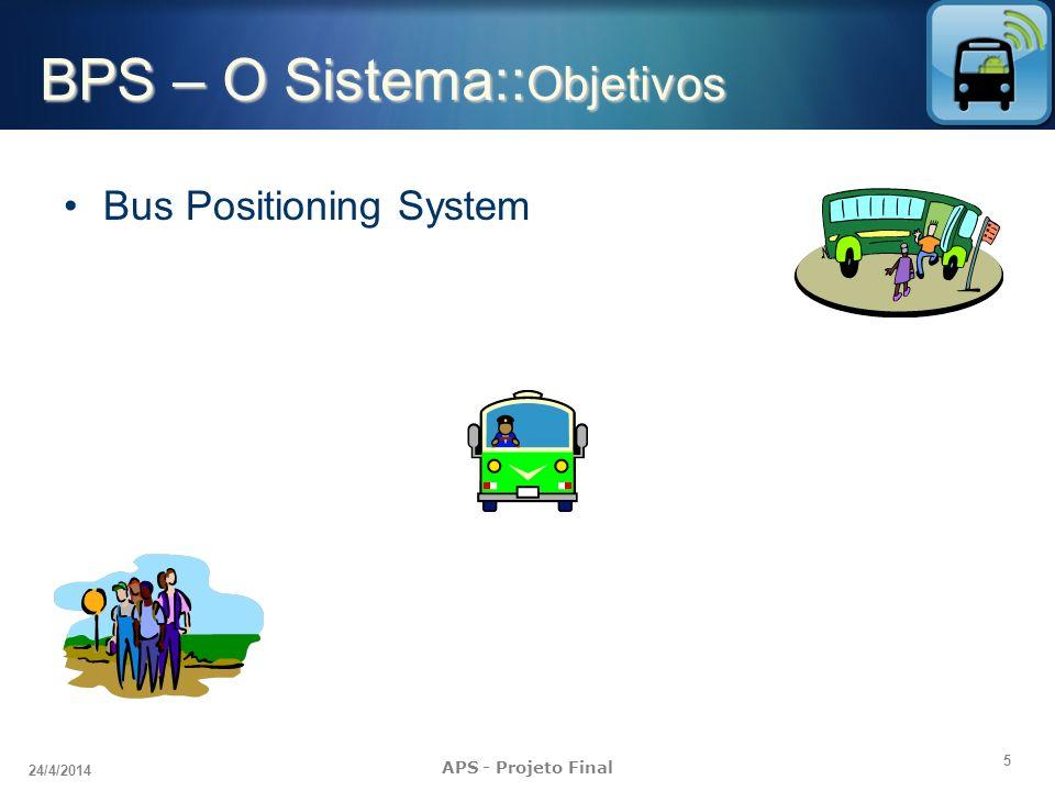 6 24/4/2014 APS - Projeto Final BPS – O Sistema:: Objetivos Bus Positioning System Identificar o tempo médio de espera por ônibus Disponibilizar consulta por dispositivos móveis