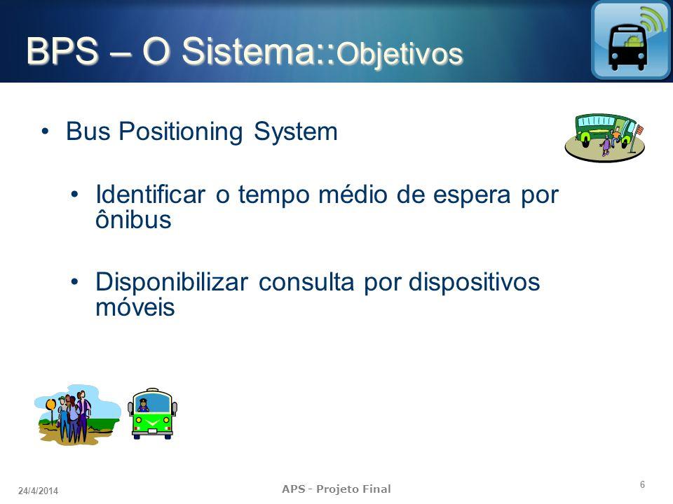 6 24/4/2014 APS - Projeto Final BPS – O Sistema:: Objetivos Bus Positioning System Identificar o tempo médio de espera por ônibus Disponibilizar consu