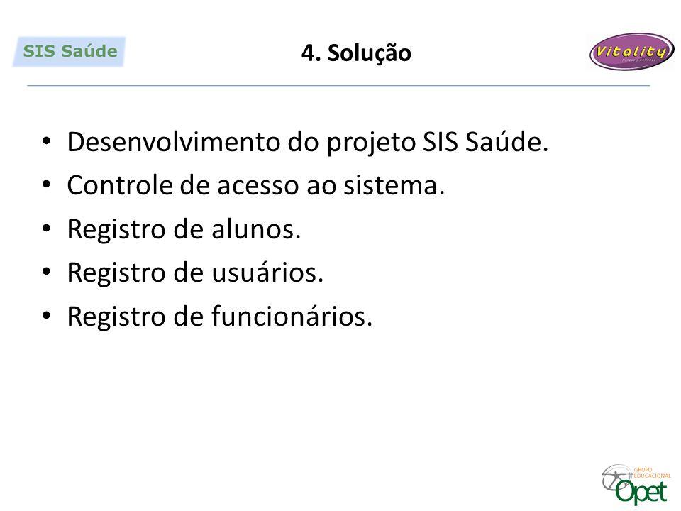 4. Solução Desenvolvimento do projeto SIS Saúde. Controle de acesso ao sistema.