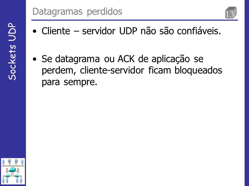 13 Datagramas perdidos Sockets UDP Cliente – servidor UDP não são confiáveis.