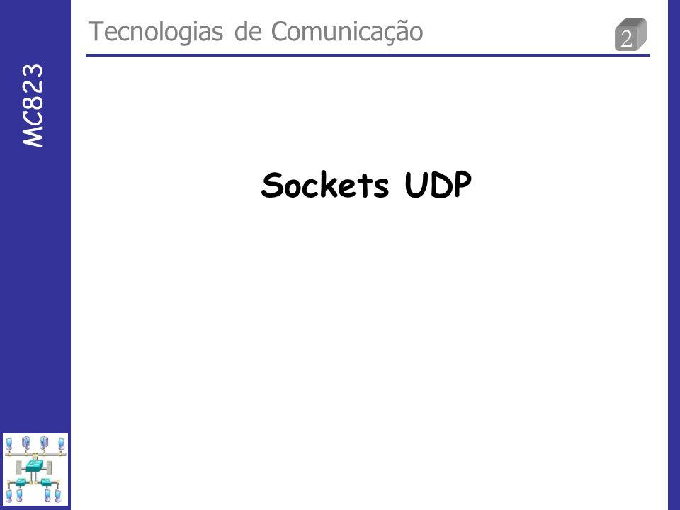 3 Funções para cliente-servidor UDP Sockets UDP socket( ) bind( ) recvfrom( ) socket( ) sendto( ) Blocks until datagram received from a client Process request recvfrom( ) close( ) UDP Server UDP Client data (request) data (reply) well-known port Sem conexão.
