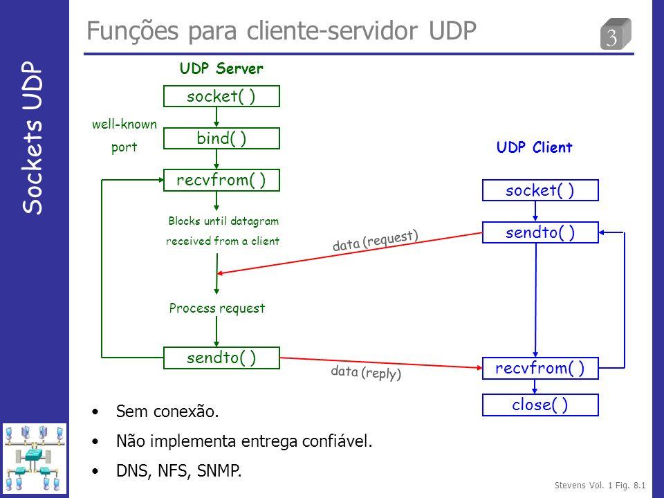 4 Funções recvfrom e sendto Sockets UDP #include ssize_t recvfrom(int sockfd, void *buff, size_t nbytes, int flags, struct sockaddr *from, socklen_t *addrlen); ssize_t sendto(int sockfd, const void *buff, size_t nbytes, int flags, const struct sockaddr *to, socklen_t *addrlen); Retorno: número de bytes lidos ou escritos se OK, -1 para erro.