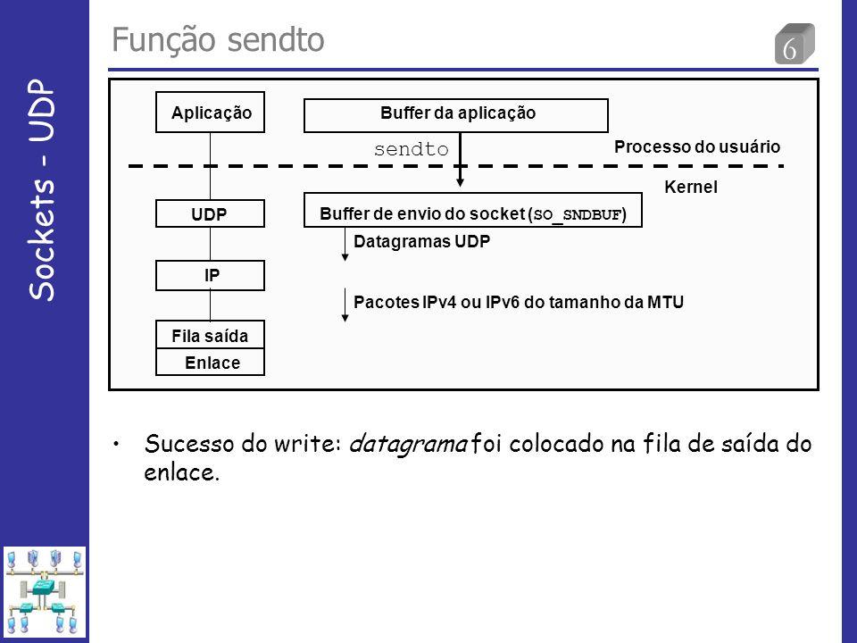 6 Função sendto Sockets - UDP Aplicação UDP IP Fila saída Enlace Buffer da aplicação sendto Buffer de envio do socket ( SO_SNDBUF ) Processo do usuário Kernel Datagramas UDP Pacotes IPv4 ou IPv6 do tamanho da MTU Sucesso do write: datagrama foi colocado na fila de saída do enlace.