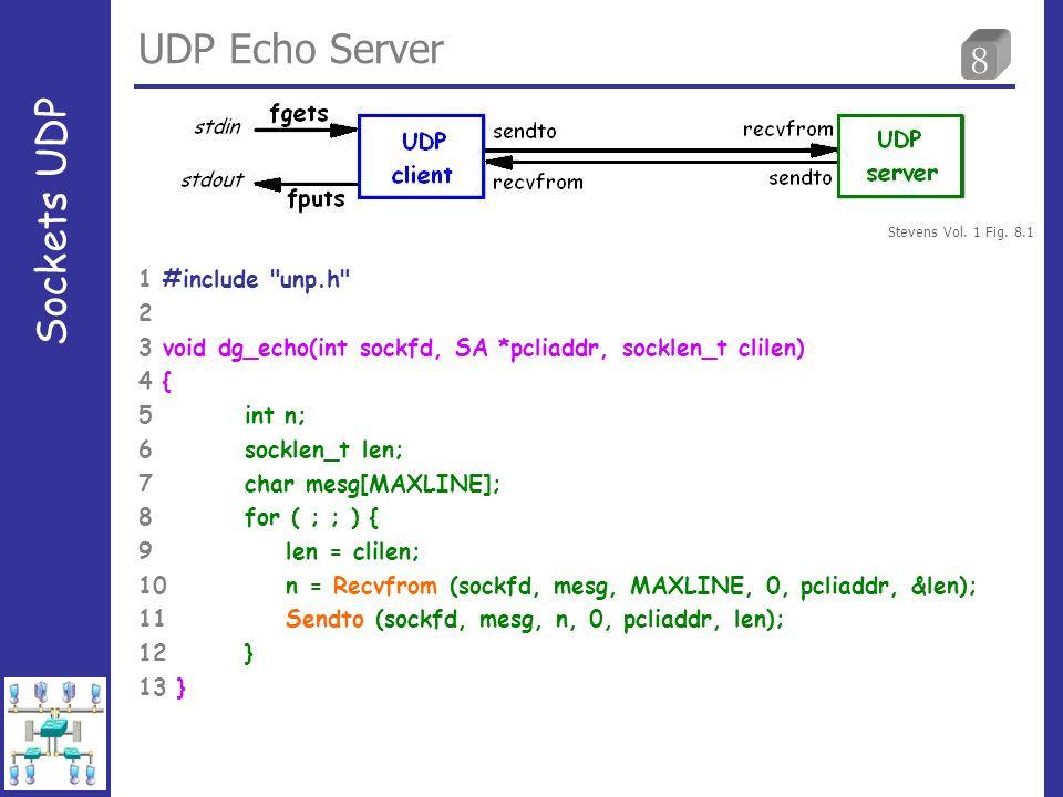 8 UDP Echo Server Sockets UDP 1 #include unp.h 2 3 void dg_echo(int sockfd, SA *pcliaddr, socklen_t clilen) 4 { 5 int n; 6 socklen_t len; 7 char mesg[MAXLINE]; 8 for ( ; ; ) { 9 len = clilen; 10 n = Recvfrom (sockfd, mesg, MAXLINE, 0, pcliaddr, &len); 11 Sendto (sockfd, mesg, n, 0, pcliaddr, len); 12 } 13 } Stevens Vol.