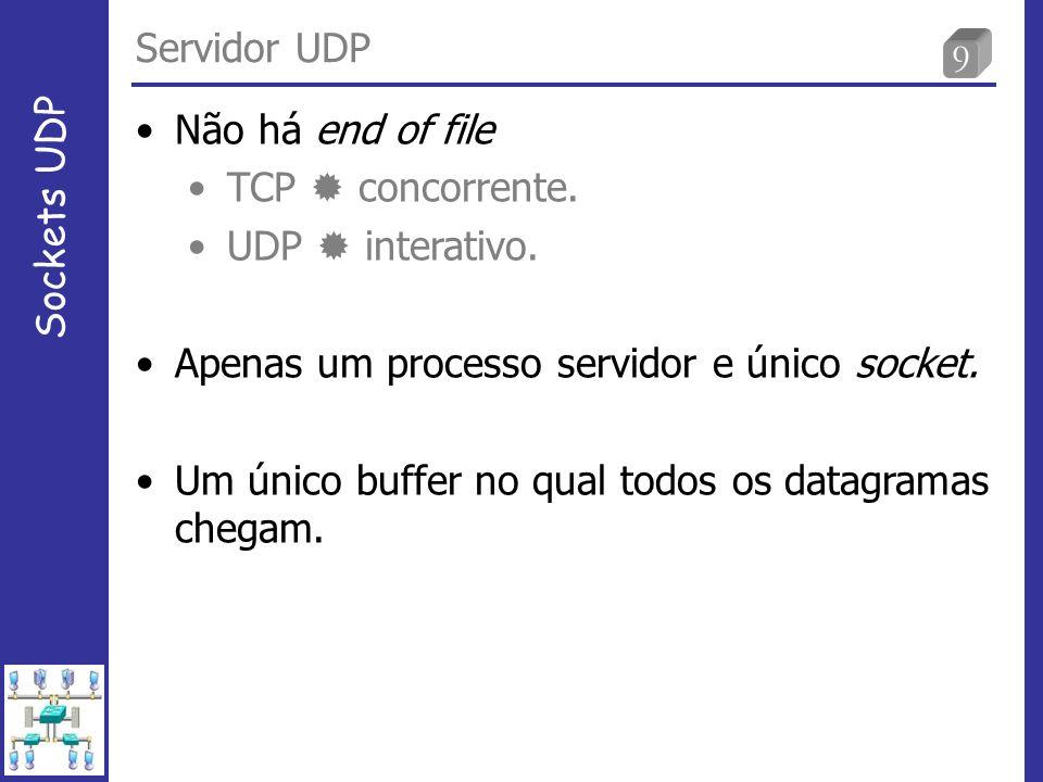 30 Servidor TCP e UDP usando select (4/4) Sockets UDP 42 if ( FD_ISSET (listenfd, &rset)) { 43 len = sizeof(cliaddr); 44 connfd = Accept (listenfd, (SA *) &cliaddr, &len); 45 if ( (childpid = Fork ()) == 0) { /*child process */ 46 Close (listenfd); /* close listening socket */ 47 str_echo(connfd); /* process the request */ 48 exit(0); 49 } 50 Close (connfd); /* parent closes connected socket */ 51 } 52 if (FD_ISSET (udpfd, &rset)) { 53 len = sizeof(cliaddr); 54 n = Recvfrom (udpfd, mesg, MAXLINE, 0, (SA *) &cliaddr, &len); 55 Sendto (udpfd, mesg, n, 0, (SA *) &cliaddr, len); 56 } 57 } 58 }