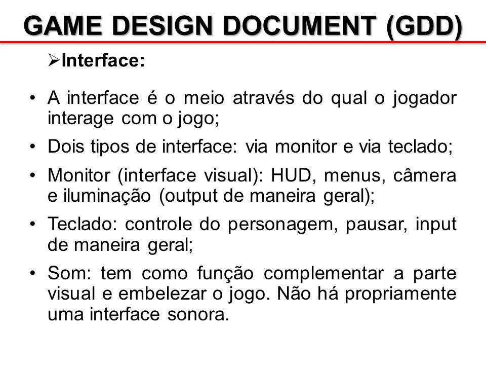 GAME DESIGN DOCUMENT (GDD) Interface: A interface é o meio através do qual o jogador interage com o jogo; Dois tipos de interface: via monitor e via t