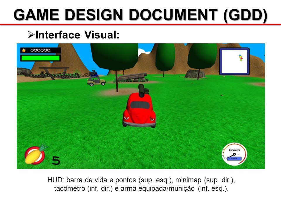 GAME DESIGN DOCUMENT (GDD) Interface Visual: HUD: barra de vida e pontos (sup. esq.), minimap (sup. dir.), tacômetro (inf. dir.) e arma equipada/muniç