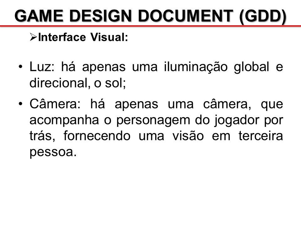 GAME DESIGN DOCUMENT (GDD) Interface Visual: Luz: há apenas uma iluminação global e direcional, o sol; Câmera: há apenas uma câmera, que acompanha o p