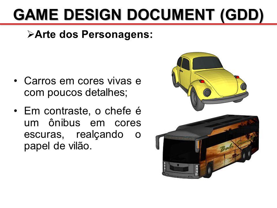 GAME DESIGN DOCUMENT (GDD) Arte dos Personagens: Carros em cores vivas e com poucos detalhes; Em contraste, o chefe é um ônibus em cores escuras, real