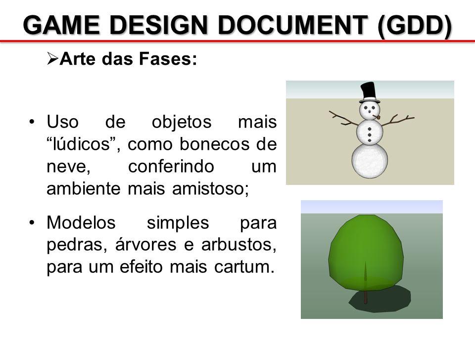 GAME DESIGN DOCUMENT (GDD) Arte das Fases: Uso de objetos mais lúdicos, como bonecos de neve, conferindo um ambiente mais amistoso; Modelos simples pa