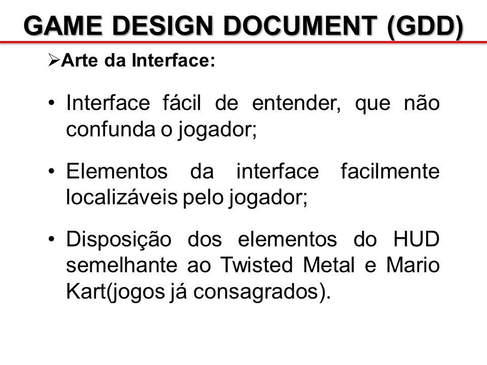 GAME DESIGN DOCUMENT (GDD) Arte da Interface: Interface fácil de entender, que não confunda o jogador; Elementos da interface facilmente localizáveis