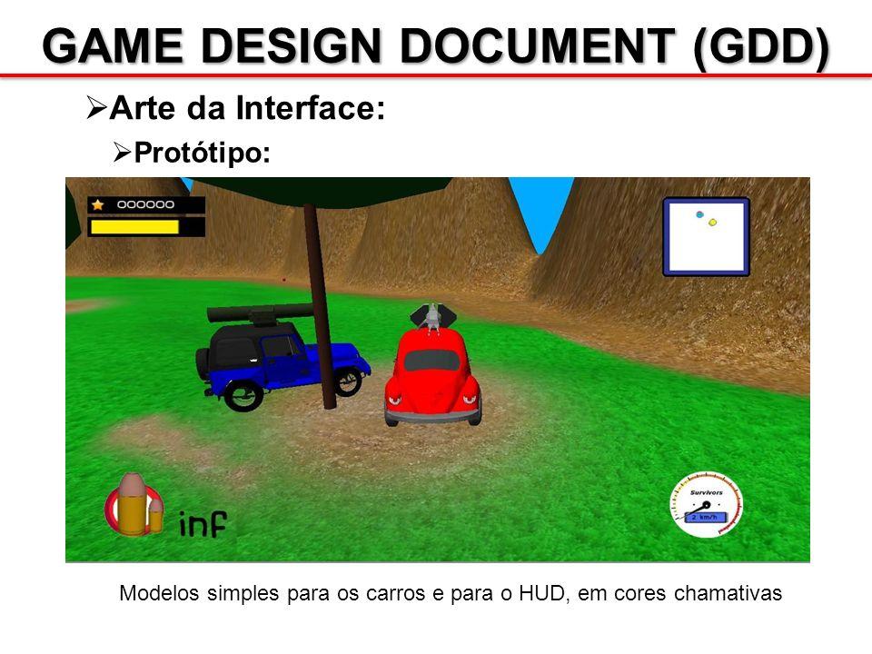 GAME DESIGN DOCUMENT (GDD) Arte da Interface: Modelos simples para os carros e para o HUD, em cores chamativas Protótipo:
