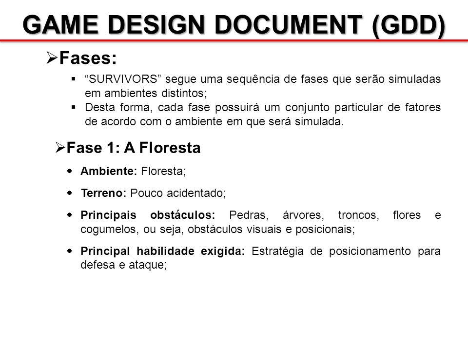 GAME DESIGN DOCUMENT (GDD) Fases: SURVIVORS segue uma sequência de fases que serão simuladas em ambientes distintos; Desta forma, cada fase possuirá u