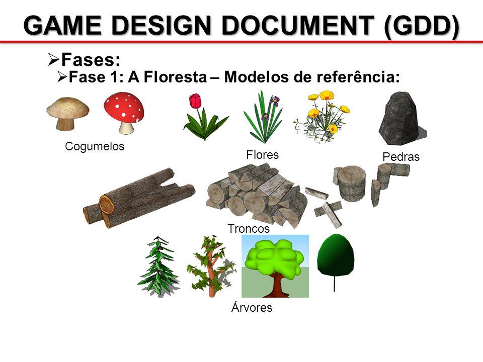 GAME DESIGN DOCUMENT (GDD) Fases: Fase 1: A Floresta – Modelos de referência: Cogumelos Flores Pedras Troncos Árvores