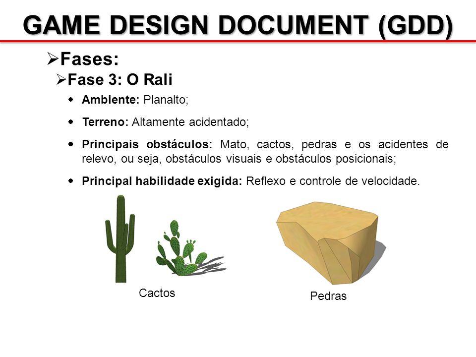 GAME DESIGN DOCUMENT (GDD) Fases: Fase 3: O Rali Ambiente: Planalto; Terreno: Altamente acidentado; Principais obstáculos: Mato, cactos, pedras e os a